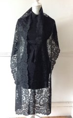 """Vintage 1950s Style 79"""" Black Edged Full Lace Head Neck Scarf Shawl Wrap Stole"""