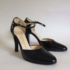 DOLCIS Vintage 1970s Black Patent Leather Mary Jane Almond Toe Shoes UK 4 EU 37