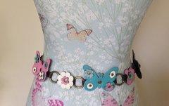 Flower Power Butterfly Hippy Style 1960s Style Multi Coloured Polyurethane Belt