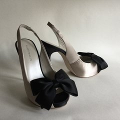 Karen Millen Cream Nude & Black Peep Toe Slingback Stiletto Heel Satin Shoe UK 4