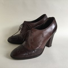 "Max & Co MaxMara Brown Leather 3.5"" Block Heel Lace Up Booties Shoes Steampunk Size UK 3 EU 36"