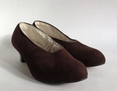 Morlands Brown Suede Rockabilly 1950s Vintage Fleece Lined Winter Court Shoes Size UK 3.5 EU 36.5