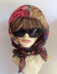 """Brown Floral Patterned 40"""" 1960s Nylon Chiffon Scarf Stitched Hem Church Races"""