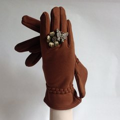 Tan Soft Fabric Vintage Gauntlet Gloves With Soft Cotton Fabric Lining Size 7.5
