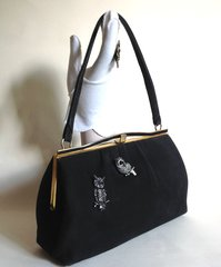 ESSELL Soft Black Chamelope Suedette 1960s Vintage Handbag With Later Sewn On Owl Brooch Detail.