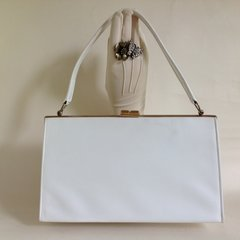 White Well Loved Faux Leather 1960s Vintage Handbag White Satin Lining Kelly Bag