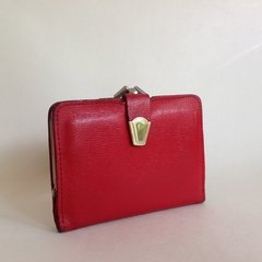 Vintage 1950s Red Leather Coin Purse Wallet Red Leather Lining Mad Men