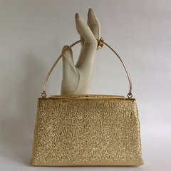 1960s Gold Larmé Fabric Vintage Handbag With Gold Toned Frame Peach Satin Fabric Lining