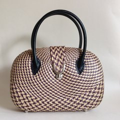 Rockabilly Vintage Style Basket Weave Handbag Synthetic Handles Fabric Lining