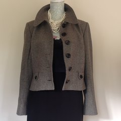 Hobbs  Brown Honeycomb Tweed Waist Length Cropped Virgin Wool  Single Breasted Jacket  Size 16