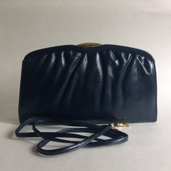 Japelle By Shilton International 1970s Vintage Blue Faux Leather Clutch Shoulder Bag