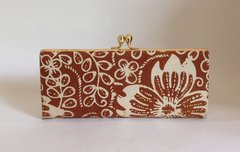 Small Tan Floral Fabric 1970s Vintage Handbag Coin Purse Clutch Bag - A004