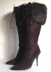 "Donna Loka Brown Suede Fur 4.5"" Stiletto Zip Up Lace Front Steampunk Boot Size UK 5"