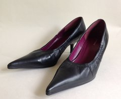 "Bronx 2.25"" Mid Kitten Heel Black Leather Pointed Toe Court Shoe Size UK 5 EU 38"