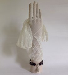 "Dents 1950s Vintage Ivory Nylon Stocking Wedding Gloves Daisy Pattern 13"" Size 6.5"
