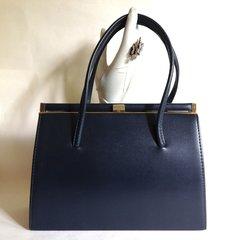 Large Blue 1960s Vintage Handbag Smooth Faux Leather Kelly Bag Fabric Lining