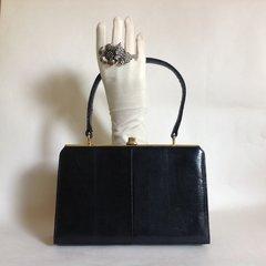 1950s Lizard Black Vintage Handbag Buff Suede Lining