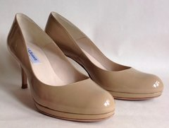 L.K.Bennett Nude Patent All Leather Mid Slim Heel Court Shoe Size UK 4 EU 37