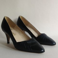 Carvela Black Leather 1980s Vintage Court Shoes 3 Inch Heel UK 4 EU 37 US 6.5M