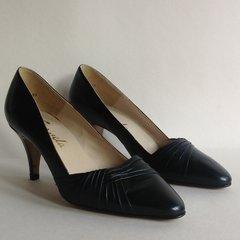 Carvela Black Leather 1980s Vintage Court Shoes 3 Inch Heel UK 4 EU 37 US 6.5M