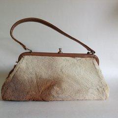 EVA BAGS Kangeroo Fur Vintage Handbag Tan Leather Handle Fabric Lining
