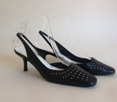 RAVEL Black Spotted Leather 1990s Vintage Sling Back Stiletto Shoe UK 5 EU 38