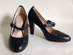 "M&S Autograph Insólia Black Leather 3.5"" Heel Mary Jane Business Shoe UK 4 EU 37"