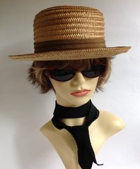 Vintage Mens Straw Boater Hat With Brown Petersham Ribbon Leather Sweat Band