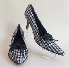 UAD Medani Black White Dogtooth Fabric Bow Front Court Shoe UK 5.5 38.5