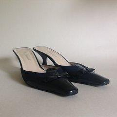 L.K. Bennett Dark Blue Leather & Fabric Bow Front Slip On Mule Size 6.5 EU 39.5