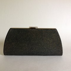 Small Black Gold Flecked Vinyl 1960s Vintage Coin Purse Clutch Bag - A004