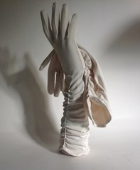 Fownes Ivory 1950s Stretch Nylon Simplex Vintage Evening Wedding Gloves Size 7