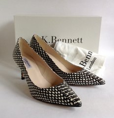 L.K. BENNETT Florisa Black & White Mid Slim Heel Kitten Heel Leather Court Shoe