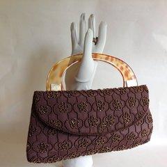 MATISSE of Jersey Brown Beaded Vintage Handbag Faux Tortoiseshell Celluloid Handle
