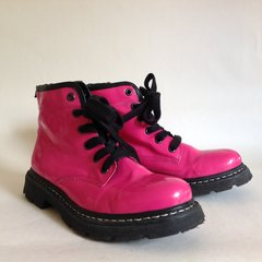 Marks & Spencer Cerise Patent Leather Boots Steam Punk Goth Girls UK 3 EU35.5