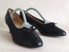 EQUITY 1960s Vintage 1930s Style Black Leather Lace Up Bow Detail Size UK 4.5