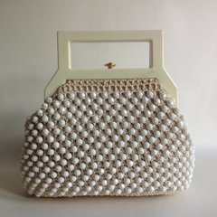 Ivory Beaded Crochet Rockabilly 1960s Vintage Handbag Cellulose Ivory Handles