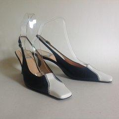 BALLIN All Leather Vintage Black & White Slingback Shoes UK Size 3.5 EU 36.5