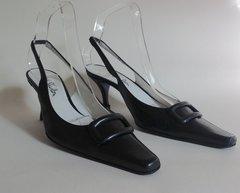Jane Shilton An Elegant and Sophisticated Black All Leather Sling Back Dress Shoe UK Size 4.5 EU 37.5
