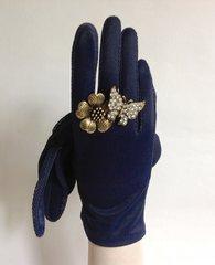 Empire Product Vintage 1950s Navy Nylon Evening Wrist Length Gloves Size 6.5