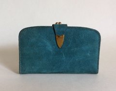 Teal Leather 1950s Vintage Coin Purse Mini Wallet Black Leather Lining