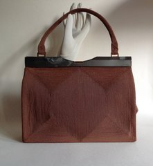 Cordé Brown French 1940s Vintage Handbag Brown Satin Lining & Slate Lucite Frame