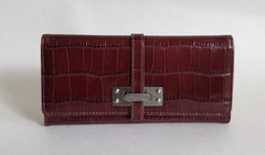 Kenneth Cole Brown Large Moc Croc Leather Purse Wallet Leather & Fabric Lining