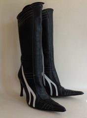 Dune Black Soft Leather Pointed Stiletto Knee High Boots White Trim Size UK 7 EU 40