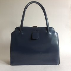 Charcoal Grey 1950s Calf Leather Vintage Handbag Beige Satin Lining Mad Men
