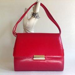 Red Leather 1960s 1970s Vintage Handbag Shoulder Bag Black Leather Lining