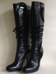 "Karen Millen Black Leather And Suede 4.25"" Heel Boot Leather Lined Size UK 7 EU 40"