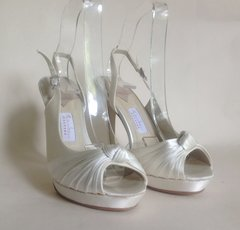 Rainbow Couture Ivory Satin Peep Toe Slingback Sandals Diamanté Buckle and knot detail to front Half d'orsay uppers.