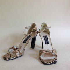 Russell & Bromley Beige Snake Skin Slim Heel Open Front Sandal Shoe UK 4.5
