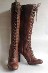 "Nine West Mid Brown Leather 4"" Slim Heel Zip Up Lace Front Steampunk Boot Size UK 5.5M US 7.5M"